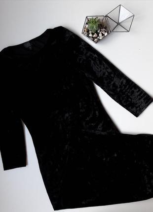 Вельветовое велюровое бархатное черное платье миди topshop