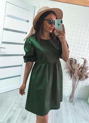 Коттоновое платье хаки