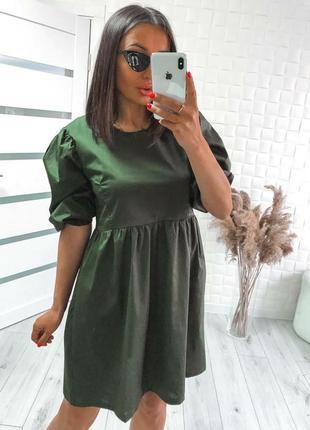 Летнее женское коттоновое платье хаки