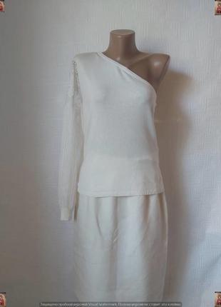 Фирменная only нарядная блуза на одно плечё с кружевным рукавом, размер хс-с