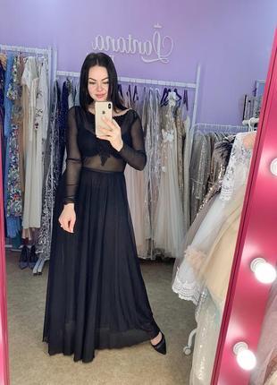 Нарядное чёрное платье в пол