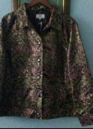 Шикарный жакет пиджак куртка с жаккардовым золотистым  узором