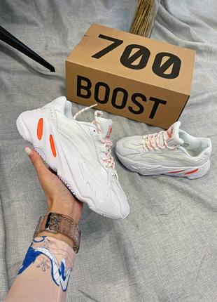 Унисекс кроссовки yeezy boost 700 v2 white /orange
