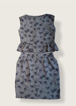 Женский фирменный  костюм, комплект топ и юбка из купро
