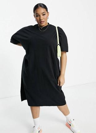Платье миди asos хлопок чёрное