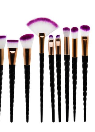Кисти для макияжа, 10 шт.в наборе, ручки в виде рога единорога