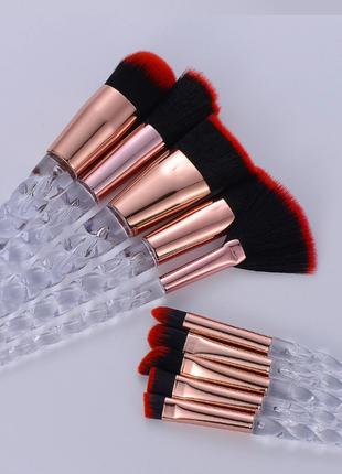 Кисти для макияжа, 10 шт.в наборе, прозрачные ручки в виде рога единорога