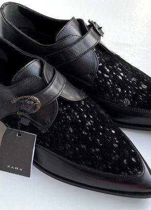 Zara man туфлі чорні натуральна шкіра