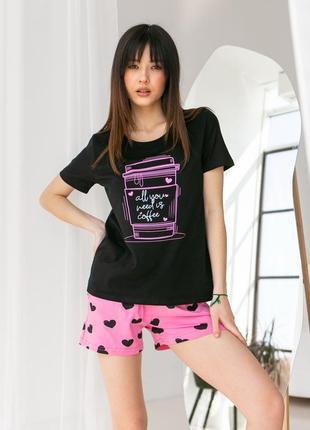 Женский комплект с шортами - кофе с сердечками