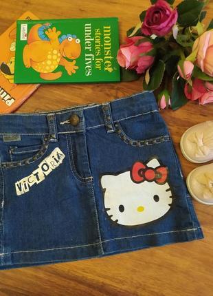 Модная джинсовая юбка на модницу hello kelly на 2-3 года.