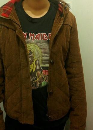 Коричневая шерстяная куртка с капюшоном h&m zara mango!7 фото