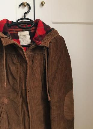 Коричневая шерстяная куртка с капюшоном h&m zara mango!3 фото