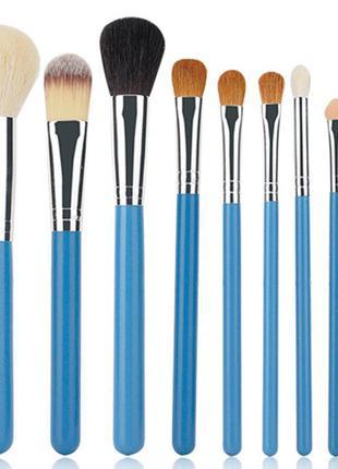 Набор мягких натуральных кистей 9шт для макияжа лица и глаз