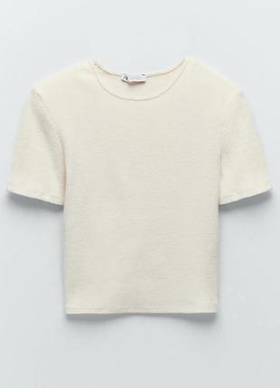 Топ zara плотный в рубчик, короткая футболка зара, молочный белый цвет, топик