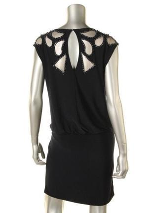 """Короткое нарядное платье с вышивкой и декором из бисера """"10"""" usa 46-48 р"""