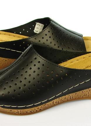 Черные кожаные женские шлепанцы sanipur с резинкой ng0002/014
