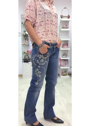 Джинсы синие вышивка бисер модные бренд качество
