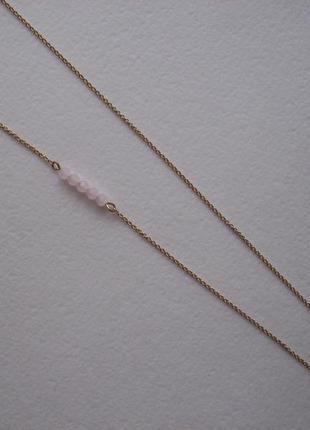 Колье цепочка тонкое плетение с бусинами