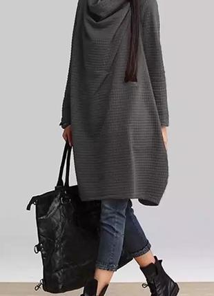 Zanzea туника платье осень-весна тёплая батал большой размер хомут
