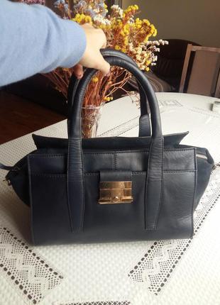 Темно синяя кожаная сумка next