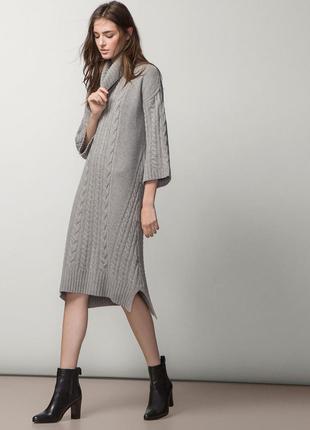 Вязаное теплое ,очень стильное платье massimo dutti