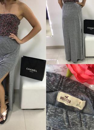 Актуальная серая юбка в пол с разрезами hollister