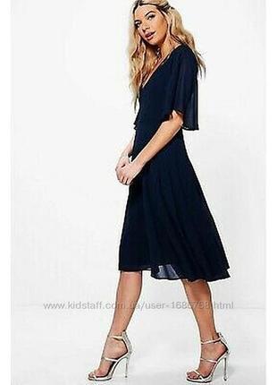 Синие шифоновое платье boohoo размер m