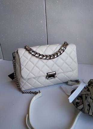 Кожаная сумка polina eiterou ,сумка кожаная белая
