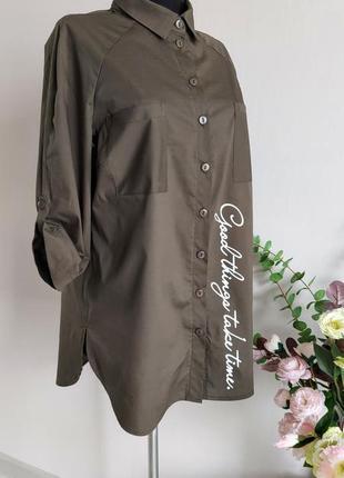 Хлопковая рубашка,блузка,блуза в полоску,большого размера,реглан,батал,оверсайз с принтом