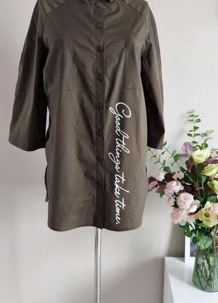 Хлопковая рубашка,блузка,блуза в полоску,большого размера,реглан,батал,оверсайз с принтом2 фото