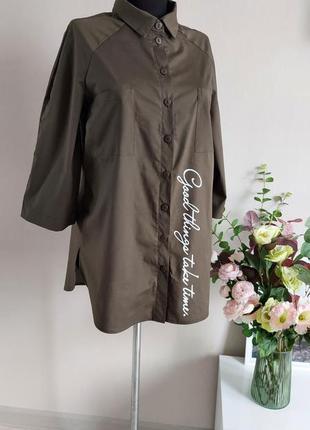 Хлопковая рубашка,блузка,блуза в полоску,большого размера,реглан,батал,оверсайз с принтом3 фото