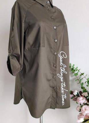 Хлопковая рубашка,блузка,блуза в полоску,большого размера,реглан,батал,оверсайз с принтом4 фото