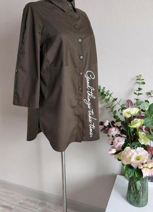 Хлопковая рубашка,блузка,блуза в полоску,большого размера,реглан,батал,оверсайз с принтом5 фото