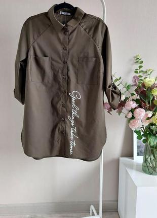 Хлопковая рубашка,блузка,блуза в полоску,большого размера,реглан,батал,оверсайз с принтом8 фото