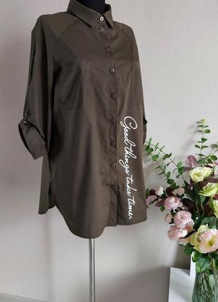 Хлопковая рубашка,блузка,блуза в полоску,большого размера,реглан,батал,оверсайз с принтом6 фото