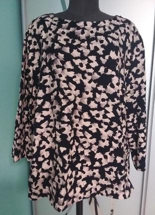 Шикарная натуральная плотная блуза с молнией на плече большого размера