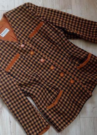 Винтажный шерстяной пиджак/ жакет твид/ гусниная лапка германия