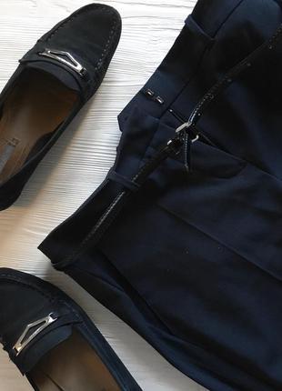 Кожаные тёмно синие мокасины geox