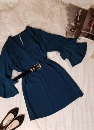 Платье изумрудного цвета платье papaya  рукава с воланами свободного кроя сукня плаття