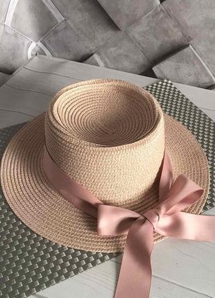 Шляпка летняя канотье с атласной лентой розовая