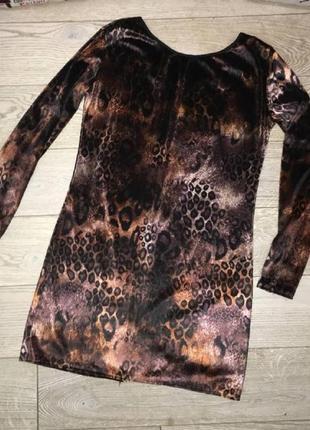 Бархатное платье в леопардовый принт