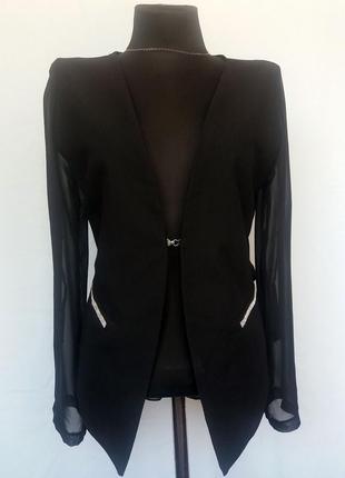 Суперцена. стильный черный пиджак блуза. новый, р-ры s-m, l