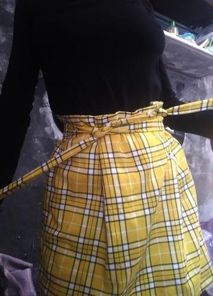 Трендовая мини юбка солнце клёш в клетку с поясом