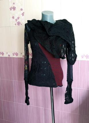 Необычная итальянская авангардная  блуза реглан лонгслив в стиле desigual