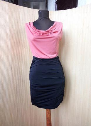 Чёрное коралловое вечернее коктейльное нарядное платье  футляр утяжка