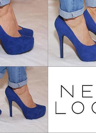 Туфли синего цвета, ненатуральный замш, р-р 39 от look