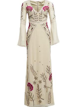 Платье frock and frill | вышивка бисером | кружевные вставки | есть бирка