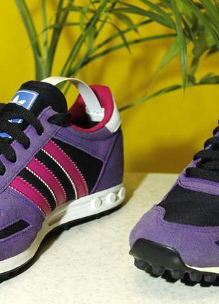 Кроссовки фиолетово-малинового adidas l.a.trainer размер 36 и 2/3 | 23 см