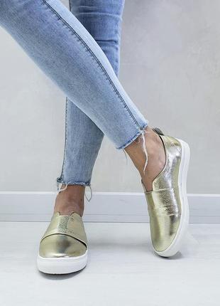Кожаные слипоны р32-41 мокасины балетки туфли сліпони мокасини туфлі