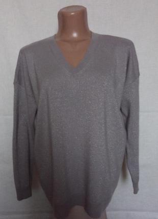 Кашемировый джемпер свитер с люрексом, фасон оверсайз.